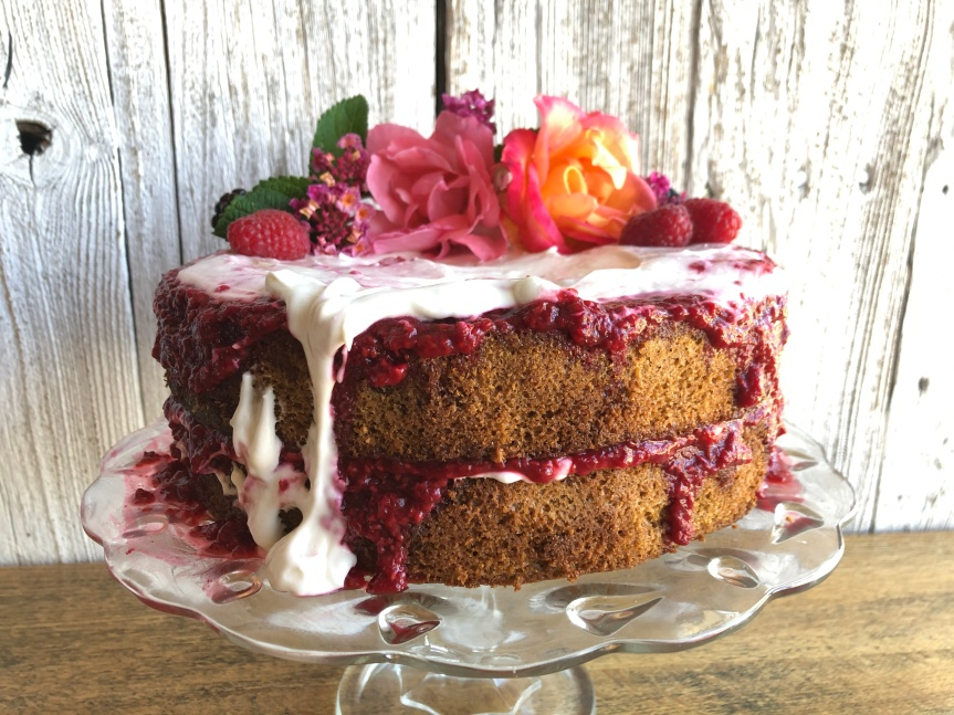 ALMOND CAKE WITH CULTURED RASPBERRY FILLING and PROBIOTIC CREAM CHEESEFROSTING
